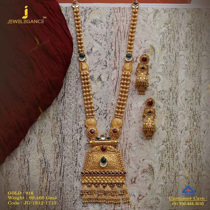 👸 ઘરેણાં ડિઝાઇન - TM JEWELEGANCE EWELEGANCE GOLD - 916 Weight : 99 . 460 Gms Code : JG - 1812 - 1713 Customer Care : + 91 990 - 444 - 3030 - ShareChat