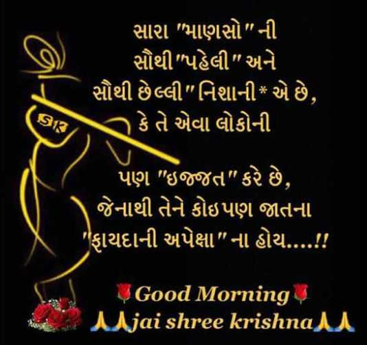 🙏 જય શ્રી કૃષ્ણ - સારા માણસો ની સૌથી પહેલી અને ' સૌથી છેલ્લી નિશાની * એ છે , ી કે તે એવા લોકોની ( 918 પણ ઇજ્જત કરે છે , ' જેનાથી તેને કોઇપણ જાતના ' ફાયદાની અપેક્ષા ના હોય . . . . ! ! Good Morning 4 Mjai shree krishnan - ShareChat