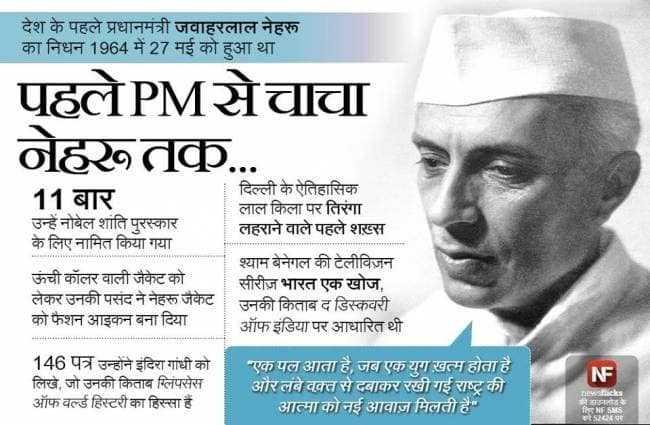 🙏 જવાહરલાલ નહેરુ પુણ્યતિથિ - देश के पहले प्रधानमंत्री जवाहरलाल नेहरू का निधन 1964 में 27 मई को हुआ था । पूहलेPMचाचा ० तु . . 11 बार उन्हें नोबेल शांति पुरस्कार के लिए नामित किया गया । दिल्ली के ऐतिहासिक लाल किला पर तिरंगा । लहराने वाले पहले शख्स ऊंची कॉलर वाली जैकेट को लेकर उनको पसंद ने नेहरू जकट को फैशन आइकन बना दिया श्याम बेनेगल की टेलीविज़न सीरीज़ भारत एक खोज , उनकी किताब द डिस्कवरी ऑफ इंडिया पर आधारित थी NF 146 पत्र उन्होंने इंदिरा गांधी को लिखें , जो उनको किताब ग्लिपसेस ऑफ वल्र्ड हिस्टरी का हिस्सा है । एक पल आता है , जब एक युग खत्म होता है । और लंबे वक्त से दबाकर रखी गई राष्ट्र की । आत्मा को नई आवाज मिलती है । D icks 5724 छ । - ShareChat