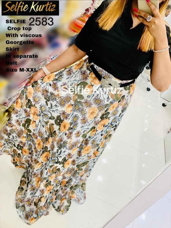 👗 ડ્રેસ ડિઝાઇન - Selfie Kurtiz SELFIE 2583 Crop top With viscous Georgette Skirt In separate Belt Size M - XXL une - ShareChat