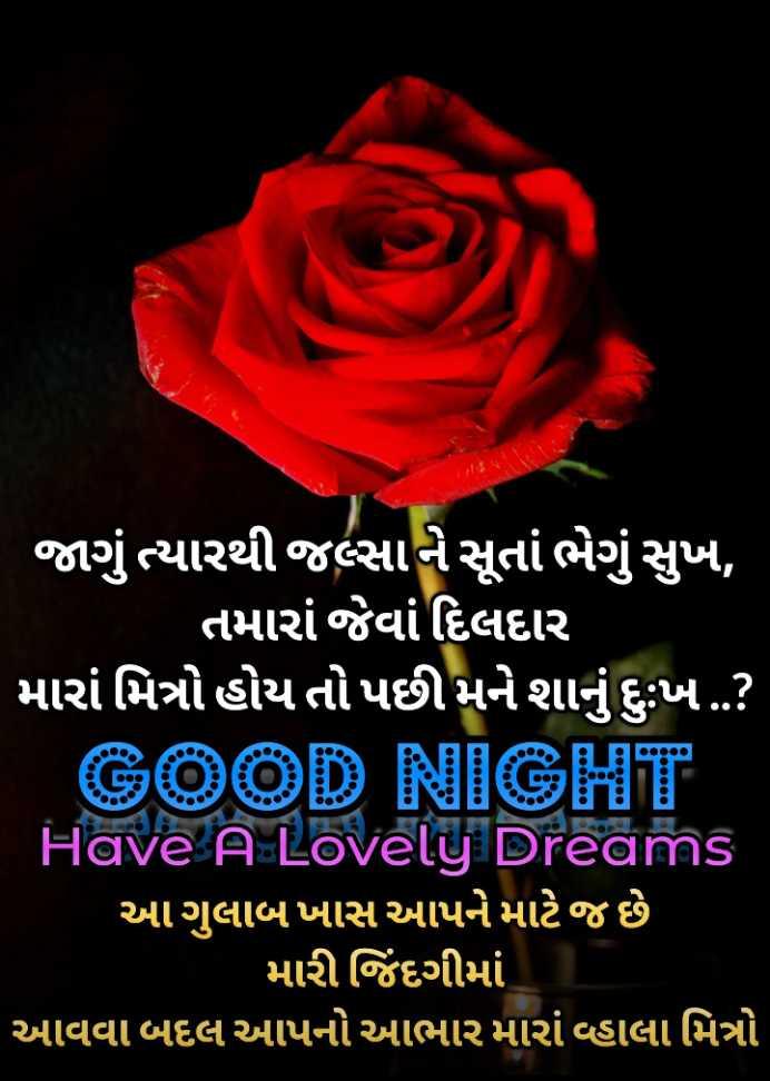 🎉 તહેવારો - ' જાગું ત્યારથી જલ્સાને સૂતાં ભેગું સુખ , ' તમારાં જેવાં દિલદાર ' મારાં મિત્રો હોય તો પછી મને શાનું દુઃખ . . ? GOOD NIGHT Have A Lovely Dreams ' આગુલાબખાસ આપને માટે જ છે મારી જિંદગીમાં ' આવવા બદલ આપનો આભાર મારા વ્હાલા મિત્રો , - ShareChat