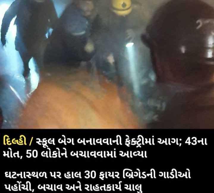🔥 દિલ્હીમાં આગ: 43ના મોત - ' દિલ્હી / સ્કૂલ બેગ બનાવવાની ફેક્ટીમાં આગ : 43ના ' મોત , 50 લોકોને બચાવવામાં આવ્યા ' ઘટનાસ્થળ પર હાલ 30 ફાયર બ્રિગેડની ગાડીઓ ' પહોંચી , બચાવ અને રાહતકાર્ય ચાલુ - ShareChat
