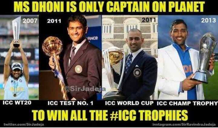 😱 ધોની લિસ્ટમાંથી બહાર - MS DHONI IS ONLY CAPTAIN ON PLANET 2007 2011 2011 2013 @ SirJadeja ICC WT20 ICC TEST NO . 1 ICC WORLD CUP ICC CHAMP TROPHY TO WIN ALL THE # ICC TROPHIES twitter . com / Sir Jadeja instagram . com / SirRavindrajadeja - ShareChat