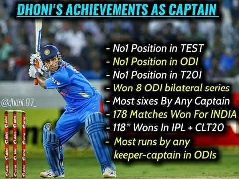 🧢 ધોની - DHONI ' S ACHIEVEMENTS AS CAPTAIN @ dhoni . 07 - No1 Position in TEST - Nol Position in ODI - Nol Position in T201 - Won 8 ODI bilateral series - Most sixes By Any Captain 178 Matches Won For INDIA 118 * Wons In IPL + CLT20 Most runs by any keeper - captain in ODIS - ShareChat