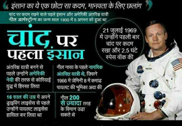💐 નીલ આર્મસ્ટ્રોંગ પુણ્યતિથિ - इंसान का ये एक छोटा सा कदम , मानवता के लिए छलांग चांद पर कदम रखने वाले पहले इंसान और अमेरिकी अंतरिक्ष यात्री नील आर्मस्ट्रॉन्ग का जन्म साल 1930 में 5 अगस्त को हुआ था 21 जुलाई 1969 में उन्होंने पहली बार चांद पर कदम रखा और 2 . 5 घंटे स्पेस वॉक की चाद . पर पहला इसान अंतरिक्ष यात्री बनने से नील नासा के पहले नागरिक पहले उन्होंने अमेरिकी - अंतरिक्ष यात्री थे , जिसने नेवी की तरफ से कोरियाई 1966 में जेमिनी 8 में कमांड युद्ध में हिस्सा लिया | पायलट की भूमिका अदा की 16 साल की उम्र में अपने नील 200 ड्राइविंग लाइसेंस से पहले से ज़्यादा तरह उन्होंने पायलट लाइसेंस के विमान उड़ा हासिल कर लिया था सकते थे - ShareChat
