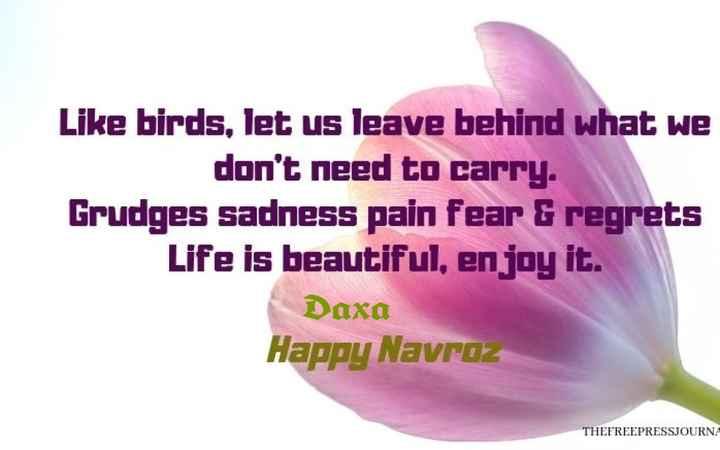 🎊 પારસી નવું વર્ષ - Like birds , let us leave behind what we don ' t need to carry . Grudges sadness pain fear & regrets Life is beautiful , enjoy it . Daxa Happy Navroz THEFREEPRESSJOURNA - ShareChat