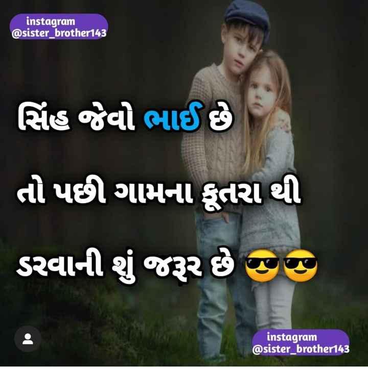 👫 ભાઇ-બહેન પ્રેમ - instagram @ sister _ brother143 સિંહ જેવો ભાઈ છે તો પછી ગામના કૂતરા થી ડરવાની શું જરૂર છે છે instagram @ sister brother143 - ShareChat