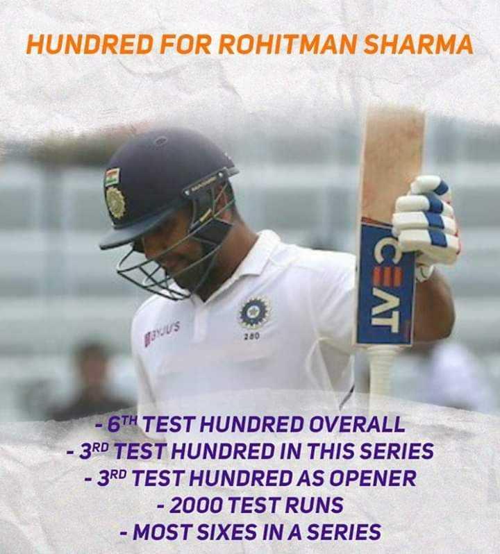 🇮🇳 ભારત vs સાઉથ આફ્રિકા 🇿🇦 - HUNDRED FOR ROHITMAN SHARMA CAT US 280 - 6TH TEST HUNDRED OVERALL - 3RD TEST HUNDRED IN THIS SERIES - 3RD TEST HUNDRED AS OPENER - 2000 TEST RUNS - MOST SIXES IN A SERIES - ShareChat