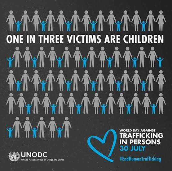 👤 માનવ તસ્કરી વિરોધ દિવસ - 「 不不不不不不不 , 个个都 ONE IN THREE VICTIMS ARE CHILDREN WORLD DAY AGAINST TRAFFICKING IN PERSONS 30 JULY # End HumanTrafficking UNODC United Nations Office on Drugs and Crime - ShareChat