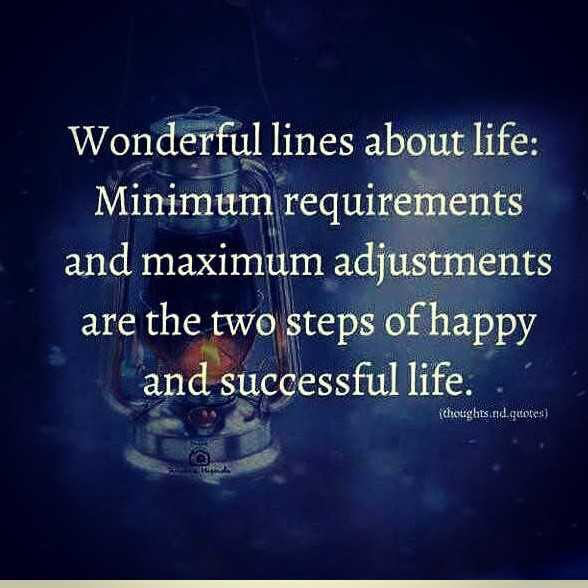 🌞 મારું ટેલેન્ટ - Wonderful lines about life : Minimum requirements and maximum adjustments are the two steps of happy and successful life . Clicughts ad quotes ) - ShareChat