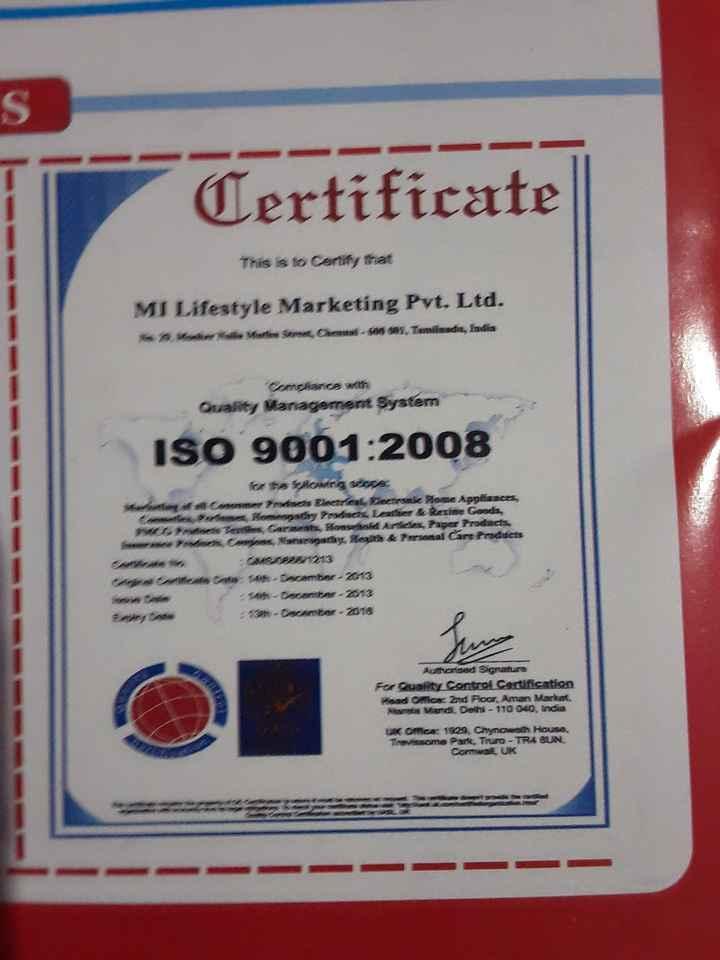 🌞 મારું ટેલેન્ટ - Certificate This is to contity that MI Lifestyle Marketing Pvt . Ltd . Moner Materra , Chennai - en as , Tamilnada , India Comdiance wit Quality Management System ISO 9001 : 2008 Mart m fara for ta teaving store : art Disteal Betrunke Hose Appliances a . Ramamtaனate Gots , Tepi Carneats , Honsehold Artees , Paper Products N amrpalum & Paramalarfrances MSDB 1213 Ata : 14h - Dorambor - 2013 4th - coceber - 2013 10 - Decanter - 2018 A ceh sant Authorsed Sanature For Quality Control Certification Masd Omca : 2nd Floor , Aman Market Maria Vand , Delhi - 110 040 , India UK Omex 1993 , Chynoweth House Trevisacma Pante , Truro - TRA QUN . Comal UK - ShareChat