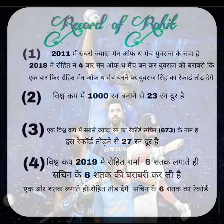 🎭 મારો પ્રિય ખેલાડી 🏏 - b . of Behit 1 ) 2011 में सबसे ज्यादा मेन ओफ ध मैच युवराज के नाम हे । 2019 मे रोहित ने 4 बार मेन ओफ ध मैच बन कर युवराज की बराबरी कि एक बार फिर रोहित मेन ओफ ध मैच बनने पर युवराज सिंह का रेकॉर्ड तोड़ देगे ( 2 ) विश्व कप में 1000 रन बनाने से 23 रन दुर है । एक विश्व कप में सबसे ज्यादा रन का रेकॉर्ड सचिन ( 673 ) के नाम है । | इस रेकॉर्ड तोड़ने से 27 रन दूर है । SAMSUN ( 2 ) विश्व कप 2019 में रोहित शर्मा 6 शतक लगाते ही । सचिन के 6 शतक की बराबरी कर ली है । एक और शतक लगाते ही रोहित तोड देगे सचिन के 6 शतक का रेकॉर्ड - ShareChat