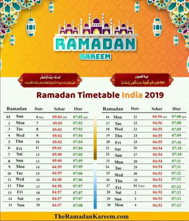 📅 રમઝાન કેલેન્ડર - RAMADAN WAREEM الدعاء عند الإفطار الشمال تفنگ و مت متوعيد عوفش و لای باخت قطته ان نية الصوم واليوم يتويت من شهر رمضان | Ramadan Timetable India 2019 Ramadan Date Sehar Iftar Date 6 May 21 Ramadan 01 Sun 2 Mon 3 Tue 4 Wed 5 Thu Iftar 07 : 02 IST 07 : 03 07 : 03 07 : 04 23 9 10 24 16 Mon 17 Tue 18 Wed 19 Thu 20 Fri 21 Sat 22 Sun 07 : 04 Sehar 05 : 04 ist 05 : 03 05 : 03 05 : 02 05 : 02 05 : 01 05 : 00 05 : 00 04 : 59 04 : 59 04 : 58 25 07 : 04 26 7 Sat 12 07 : 05 27 8 Sun 13 07 : 05 23 Mon 24 Tue 04 : 56 IST 04 : 56 04 : 55 04 : 55 04 : 55 04 : 54 04 : 54 04 : 54 04 : 54 04 : 53 04 : 53 04 : 53 04 : 53 04 : 53 04 : 53 07 : 08 isr 07 : 08 07 : 09 07 : 09 07 : 10 07 : 10 07 : 10 07 : 11 07 : 11 07 : 12 07 : 12 07 : 12 07 : 13 07 : 13 07 : 13 25 Wed 26 Thu 9 Mon 10 Tue 11 Wed 12 Thu 13 Fri 14 Sat 15 Sun 14 15 16 17 18 19 20 07 : 05 07 : 06 07 : 06 07 : 07 07 : 07 07 : 07 07 : 08 27 Fri 30 31 01 June 2 3 4 04 : 57 04 : 57 04 : 57 28 Sat 29 Sun 30 Mon TheRamadan Kareem . com - ShareChat