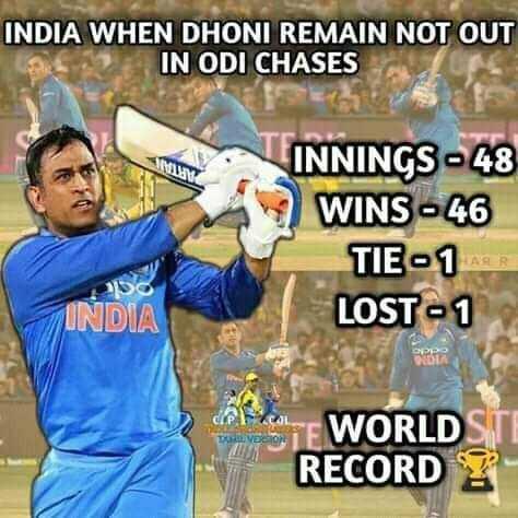 🏏 રાષ્ટ્રીય ક્રિકેટ દિવસ - INDIA WHEN DHONI REMAIN NOT OUT IN ODI CHASES MLAMA TINNINGS - 48 WINS - 46 TIE - 1 LOST - 1 INDIA TE WORLD STI RECORD Y - ShareChat