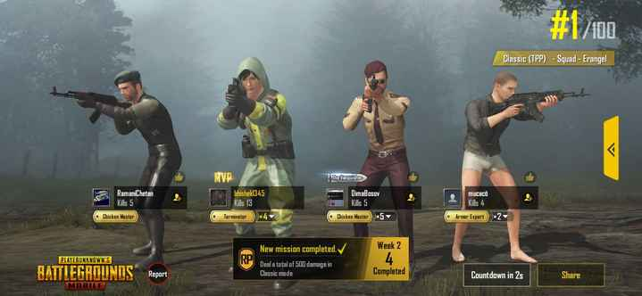 🎮 રોલઆઉટ - # 1 / 100 Classic ( TPP ) - Squad - Erangel MVP The Vanquisher RamaniChetan Kills 5 bhishek 345 Kills 13 DimaBosov Kills 5 Chicken Master 5 mutatü Kills 4 • Chicken Master Terminator © Armor Expert New mission completed . V Week 2 PLAYERUNKNOWN ' S BATTLEGROUNDS Deal a total of 500 damage in Classic mode Report Completed Countdown in 2s Share MOBILE - ShareChat
