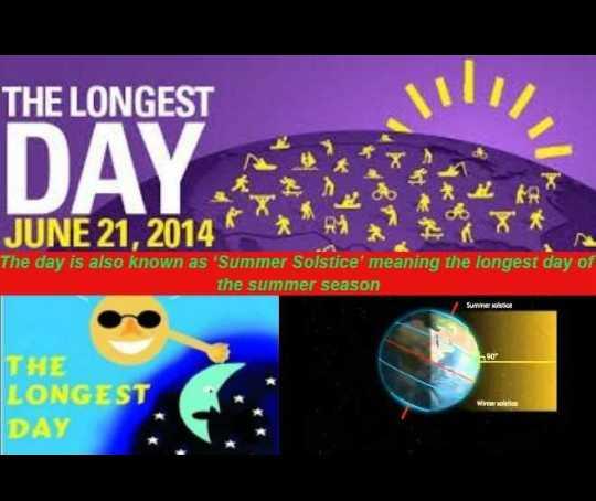🌞 વર્ષનો સૌથી લાંબો દિવસ - THE LONGEST DAYS JUNE 21 , 2014 The day is also known as ' Summer Solstice ' meaning the longest day of the summer season Surele THE LONGEST DAY - ShareChat
