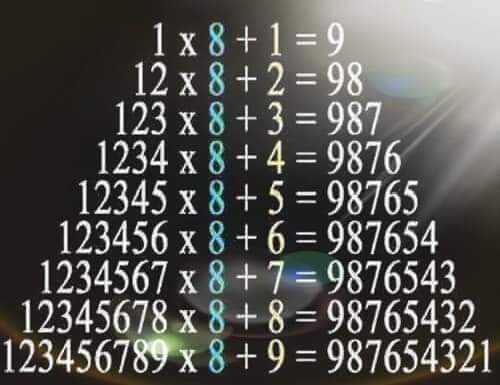 📐 વિશ્વ ગણિત દિવસ - 1 - 9 1x8 + 12x8 + 2 = 98 123 x8 + 3 = 987 1234x8 + 4 = 9876 | 12345 x8 + 5 = 98765 123456 x 8 + 6 = 987654 | 1234567x8 + 7 = 9876543 | 12345678x8 + 8 = 98765432 123456789 x8 + 9 = 987654321 - ShareChat