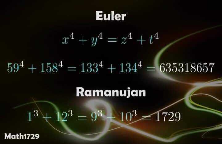 📐 વિશ્વ ગણિત દિવસ - Euler x4 + y4 = 24 + 44 594 + 1584 = 1334 + 1344 = 635318657 Ramanujan 13 + 123 = 93 + 103 21729 Math1729 - ShareChat
