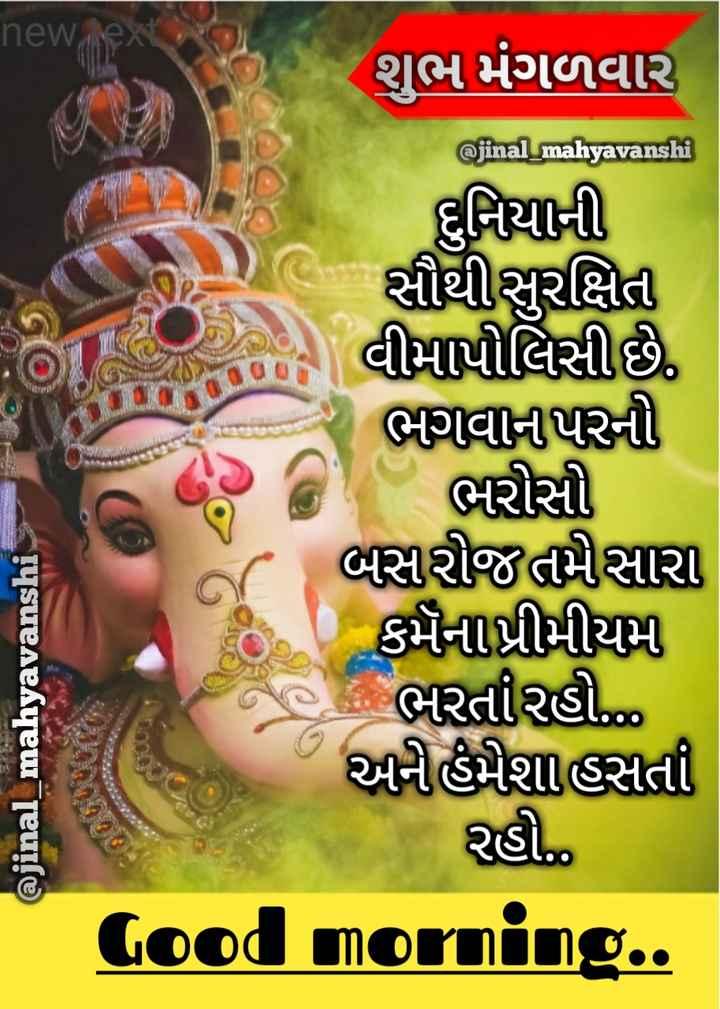 💐 શુભ મંગળવાર - new nex શુભ મંગળવાર @ jinal _ mahyavanshi દુનિયાની સીથી સુરક્ષિત વીમા પોલિસી છે , ભગવાનપરની ભરોસો બસરી જતમારા કર્મના પ્રીમીયમ એક ભરતીરહી . . . . અનીહમેશા હસતા રહો . . Good morning . . @ jinal _ mahyavanshi - ShareChat