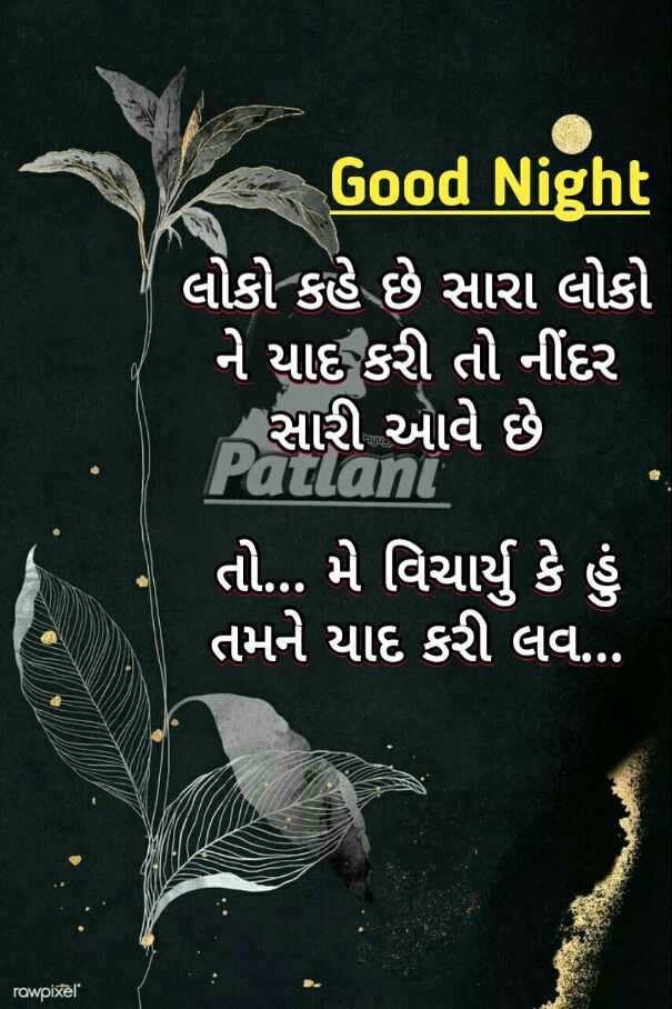 🌙 શુભરાત્રી - Good Night લોકો કહે છે સારા લોકો ' ને યાદ કરી તો નીંદર ' સારી આવે છે . Patlani ' તો . . . મે વિચાર્યું કે હું ' તમને યાદ કરી લવ . . . rawpixel - ShareChat