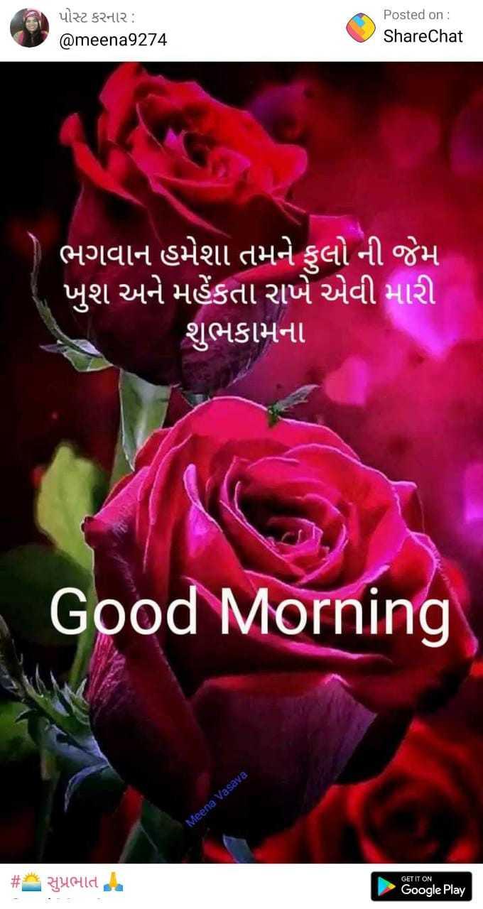 🌙 શુભરાત્રી - પોસ્ટ કરનાર : @ meena9274 Posted on : ShareChat ' ભગવાન હમેશા તમને ફુલો ની જેમ ' ખુશ અને મહેંકતા રાખે એવી મારી શુભકામના Good Morning Meena Vasava # સુપ્રભાત 02 Google Play - ShareChat