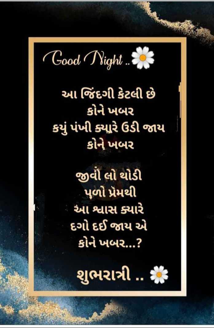 🌙 શુભરાત્રી - Good Night ' આ જિંદગી કેટલી છે કોને ખબર કયું પંખી ક્યારે ઉડી જાય કોને ખબર જીવી લો થોડી પુળો પ્રેમથી ' આ શ્વાસ ક્યારે દગો દઈ જાય એ કોને ખબર . . . ? શુભરાત્રી . . : - ShareChat