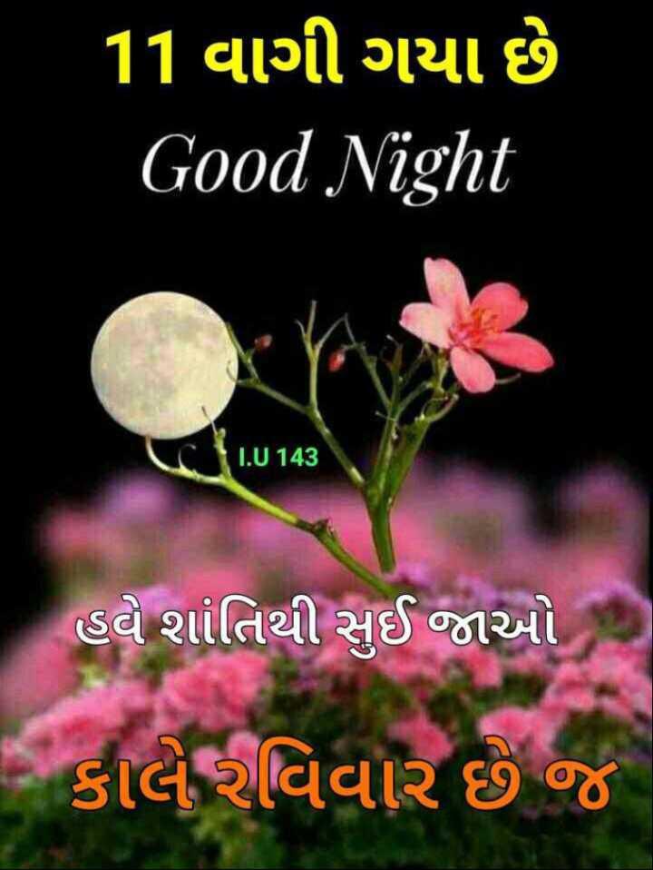 🌙 શુભરાત્રી - 11 વાગી ગયા છે Good Night IU143 હવે શાંતિથી સુઈ જાઓ , કાલે રવિવાર છે જે - ShareChat