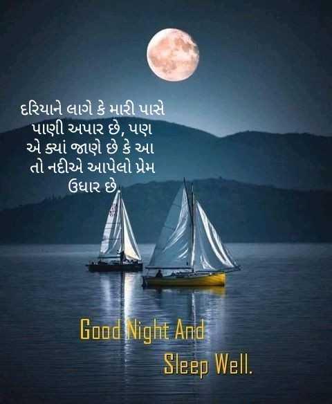 🌙 શુભરાત્રી - દરિયાને લાગે કે મારી પાસે પાણી અપાર છે , પણ એ ક્યાં જાણે છે કે આ તો નદીએ આપેલો પ્રેમ ઉધાર છે . Good Night And Sleep Well . - ShareChat