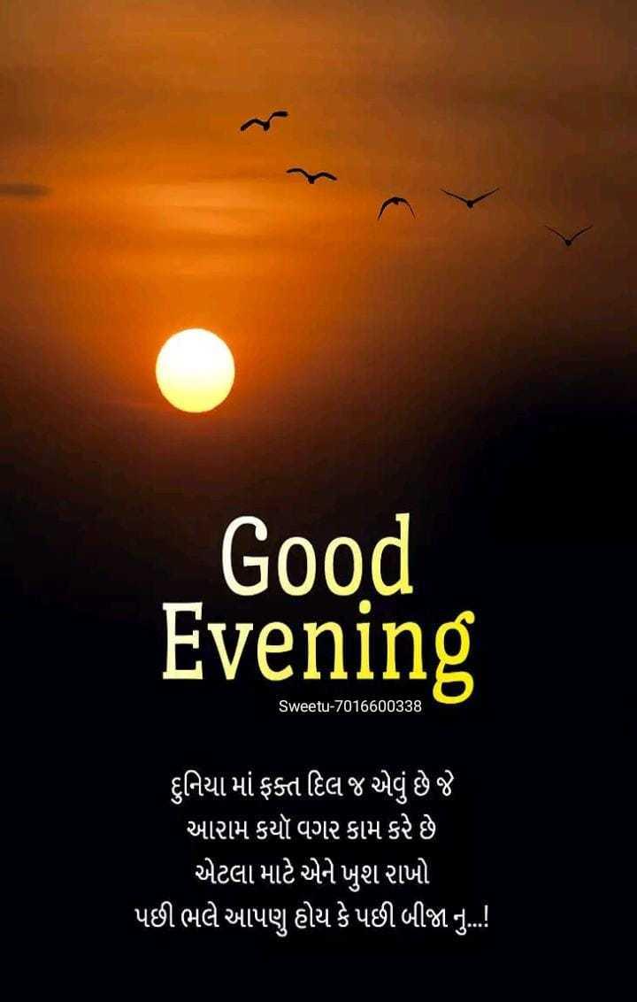 🌆 શુભ સાંજ - Good Evening Sweetu - 7016600338 ' દુનિયા માં ફક્ત દિલ જ એવું છે જે ' આરામ કયૉ વગર કામ કરે છે એટલા માટે એને ખુશ રાખો પછી ભલે આપણુ હોય કે પછી બીજા નું . . ! - ShareChat