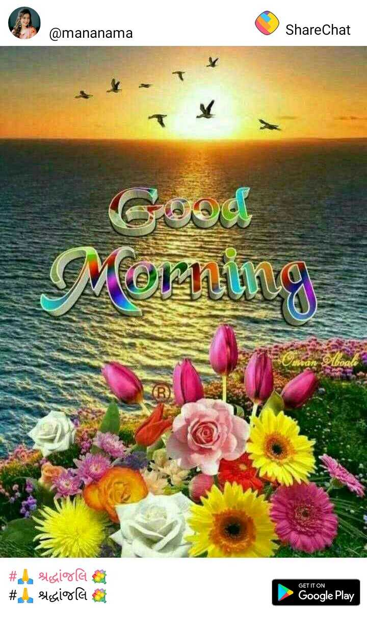 🙏 શ્રદ્ધાંજલિ 💐 - @ mananama ShareChat Good Morning CD # Elegir la # Ashesiola a GET IT ON Google Play - ShareChat