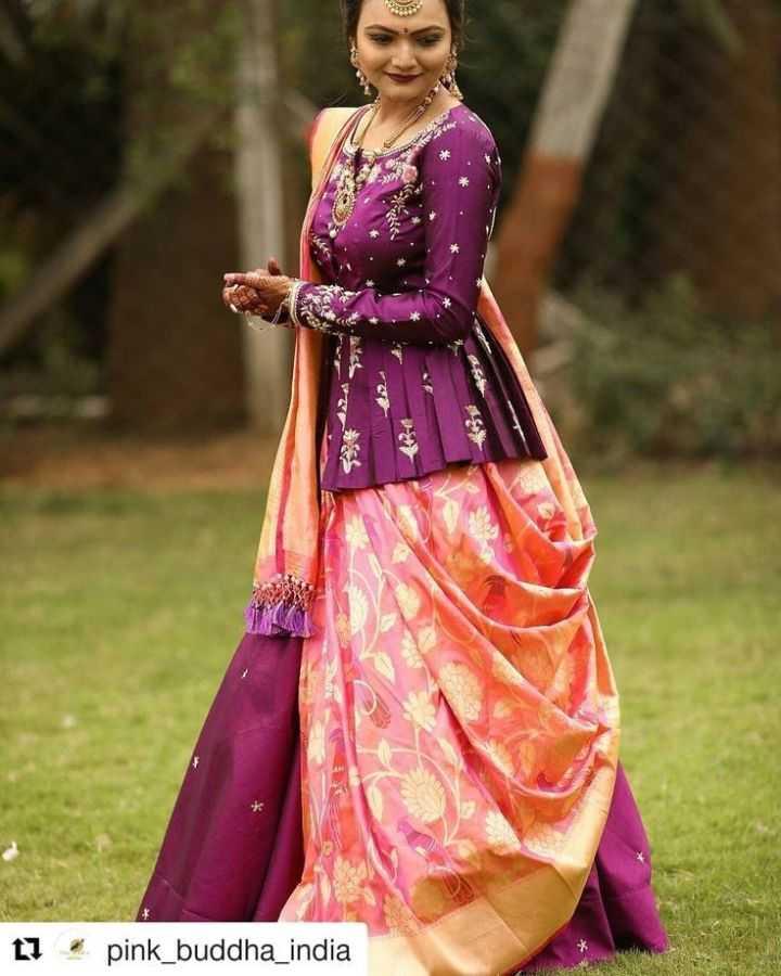 🧣 સાડી અને બ્લાઉઝ ડિઝાઈન - D L ] pink _ buddha _ india - ShareChat