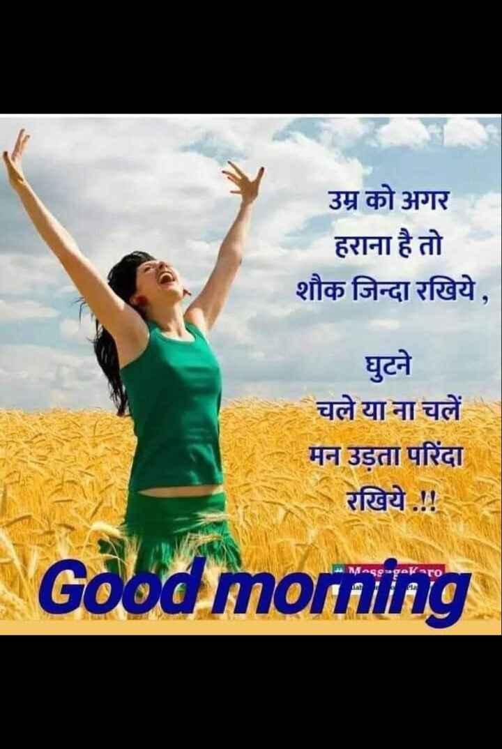 🌅 સુપ્રભાત - उम्र को अगर हराना है तो शौक जिन्दा रखिये , घुटने चले या ना चलें मन उड़ता परिंदा रखिये . ! ! Good morning ( AMMAssageKaro aan - ShareChat