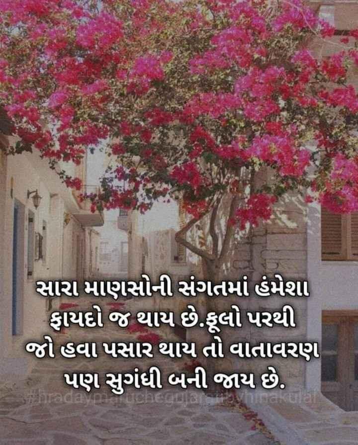 😇 સુવિચાર - સારા માણસોની સંગતમાં હંમેશા ફાયદો જ થાય છે . ફૂલો પરથી જો હવા પસાર થાય તો વાતાવરણ પણ સુગંધી બની જાય છે . Para - ShareChat