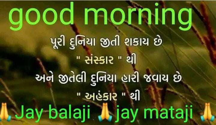 😇 સુવિચાર 😇 - good morning પૂરી દુનિયા જીતી શકાય છે . સંસ્કાર થી ' અને જીતેલી દુનિયા મરી જવાય છે . ' અહંકાર થી 1 . Jay balaji . I jay mataji I . - ShareChat