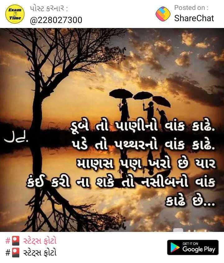 😇 સુવિચાર 😇 - ( પ ) પોસ્ટ કરનાર : Posted on : ShareChat Time @ 228027300 ડૂબ તી પાણીનો વાંક કાઢે . પડે તો પથ્થરનો વાંક કાઢે . માણસ પણ ખરો છે યાર કંઈ કરી ના શકે તો નસીબની વાંક કાઢે છે . . . # સ્ટેટ્સ ફોટો # સ્ટેટ્સ ફોટો GET IT ON Google Play - ShareChat