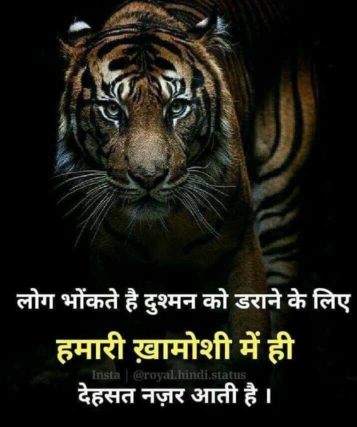 😇 સુવિચાર 😇 - लोग भोंकते है दुश्मन को डराने के लिए हमारी ख़ामोशी में ही देहसत नज़र आती है । inst hindi . status - ShareChat