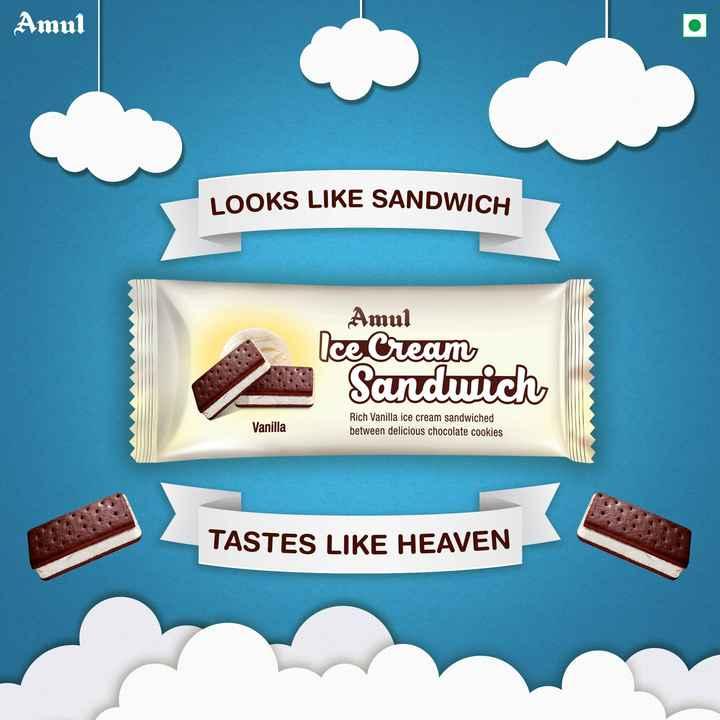 સેન્ડવીચ - Amul LOOKS LIKE SANDWICH Amul Ice Cream Sandwich Vanilla Rich Vanilla ice cream sandwiched between delicious chocolate cookies TASTES LIKE HEAVEN - ShareChat