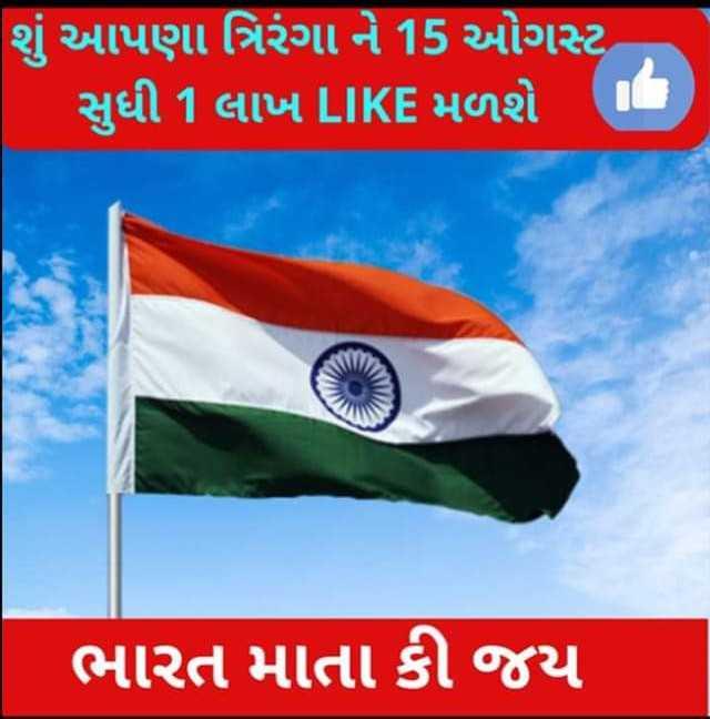 🇮🇳 સ્વતંત્રતા દિવસ - શું આપણા ત્રિરંગા ને 15 ઓગસ્ટ સુધી 1 લાખ LIKE મળશે ' ભારત માતા કી જય - ShareChat