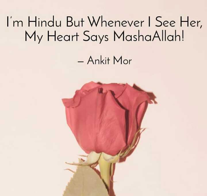 🤝 હેપી ફ્રેન્ડશીપ દિવસ - I ' m Hindu But Whenever I See Her , My Heart Says MashaAllah ! - Ankit Mor - ShareChat