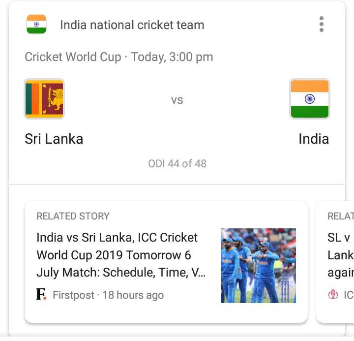 🇮🇳ଇଣ୍ଡିଆ vs ଶ୍ରୀଲଙ୍କା🇱🇰 - India national cricket team Cricket World Cup · Today , 3 : 00 pm VS vs Sri Lanka India ODI 44 of 48 RELAT RELATED STORY India vs Sri Lanka , ICC Cricket World Cup 2019 Tomorrow 6 July Match : Schedule , Time , V . . . SL v Lank agair F Firstpost . 18 hours ago ⓇIC - ShareChat