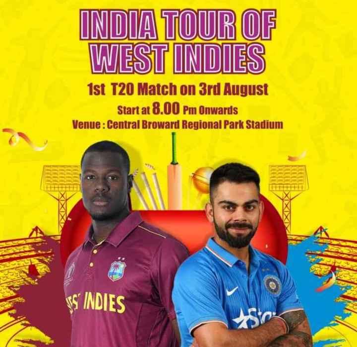🏏ଇଣ୍ଡିଆ vs ୱେଷ୍ଟ ଇଣ୍ଡିଜ: ପ୍ରଥମ ଟି-ଟ୍ୱେଣ୍ଟି - INDIA TOUR OF WEST INDIES 1st T20 Match on 3rd August Start at 8 . 00 Pm Onwards Venue : Central Broward Regional Park Stadium SINDIES - ShareChat