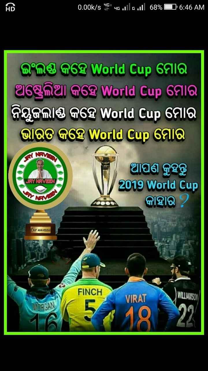 🏏ସେମି ଫାଇନାଲ: ଇଣ୍ଡିଆ vs ନ୍ୟୁଜିଲାଣ୍ଡ - 0 . 00k / s ୨୧ ' ho . all a . . ill 68 % 6 : 46 AM   ଇଂଲଣ୍ଡ କହେ World Cup ମୋର । । ଅଷ୍ଟ୍ରେଲିଆ କହେ World Cup ମୋର ନିୟୁଜଲାଣ୍ଡ କହେ World Cup ମୋର ଭାରତ କହେ World Cup ମୋର NAV JAY NAVEEN ଆପଣ କୁହନ୍ତୁ 2019 World Cup କାହାର ? SAY NAVEEN FINCH VIRAT WILLIAMSON MORGAN - ShareChat
