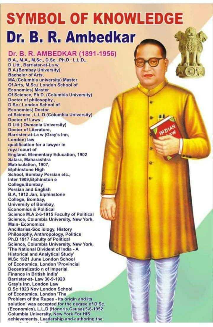 அம்பேத்கர் பிறந்தநாள் - SYMBOL OF KNOWLEDGE Dr . B . R . Ambedkar Dr . B . R . AMBEDKAR ( 1891 - 1956 ) B . A . , M . A . , M . Sc . , D . Sc . , Ph . D . , LL . D . D . Litt . , Barrister - at - Law . B . A . ( Bombay University ) Bachelor of Arts , MA . ( Columbia university ) Master Of Arts , M . Sc . ( London School of Economics ) Master Of Science , Ph . D . ( Columbia University ) Doctor of philosophy D . Sc . ( London School of Economics ) Doctor of Science , LL . D . ( Columbia University ) Doctor of Laws D . Litt . ( Osmania University ) Doctor of Literature , Barrister - at - Law ( Gray ' s Inn , London ) law qualification for a lawyer in royal court of England . Elementary Education , 1902 Satara , Maharashtra Matriculation , 1907 , Elphinstone High School , Bombay Persian etc . , Inter 1909 , Elphinstone College Bombay Persian and English B . A , 1912 Jan , Elphinstone College , Bombay . University of Bombay , Economics & Political Science M . A 2 - 6 - 1915 Faculty of Political Science , Columbia University , New York , Main - Economics Ancillaries - Sociology , History Philosophy , Anthropology , Politics Ph . D 1917 Faculty of Political Science , Columbia University , New York , The National Divident of India - A Historical and Analytical Study M . Sc 1921 June London School of Economics , London ' Provincial Decentralization of Imperial Finance In British India ' Barrister - at - Law 30 - 9 - 1920 Gray ' s Inn , London Law D . Sc 1923 Nov London School of Economics , London ' The Problem of the Rupee - Its origin and its solution ' was accepted for the degree of D . Sc . ( Economics ) . L . L . D ( Honoris Causa ) 5 - 6 - 1952 Columbia University , New York For HIS achievements , Leadership and authoring the - ShareChat