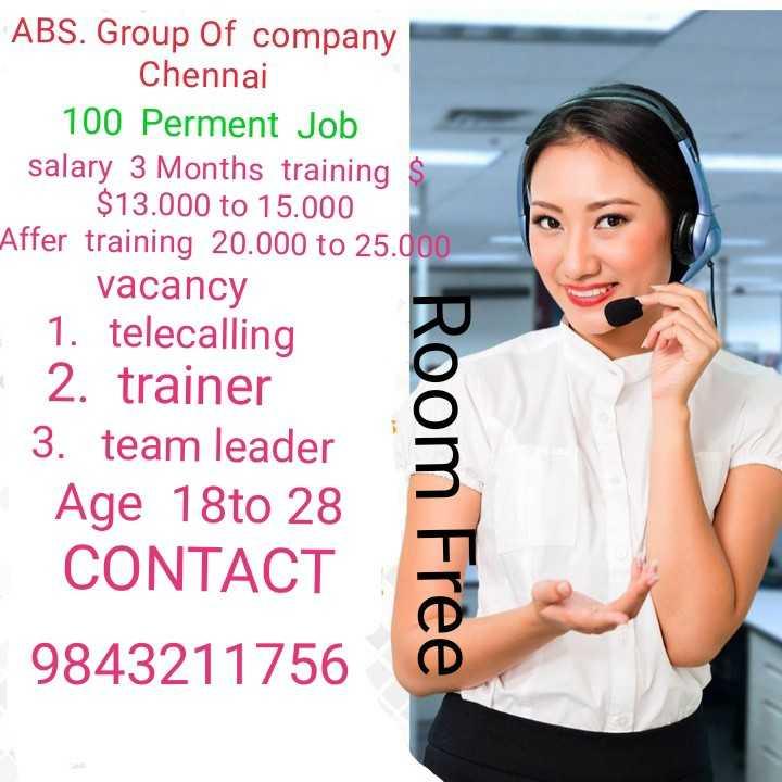 உலகின் சிறந்த நடிகராக விஜய் தோ்வு: விஜயகாந்த் வாழ்த்து - ABS . Group Of company Chennai 100 Perment Job salary 3 Months training $ $ 13 . 000 to 15 . 000 Affer training 20 . 000 to 25 . 000 vacancy 1 . telecalling 2 . trainer 3 . team leader Age 18to 28 CONTACT 9843211756 Room Free - ShareChat
