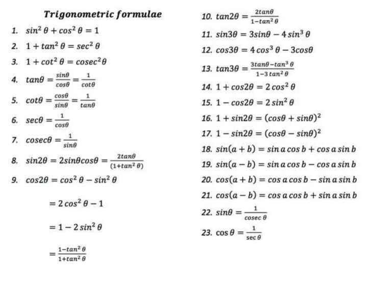 📕கல்வி - Trigonometric formulae 1 . sin ? @ + cos2 0 = 1 2 . 1 + tan ? 6 = sec 0 3 . 1 + cot ? 0 = cosec20 4 . tant = sing 10 . tan2e = ztanle 11 . sin30 = 3sino - 4 sin e 12 . cos30 = 4 cos3 0 - 3cose 13 . tan30 = 3tano - tande 5 . cotA = coso sine tand 6 . sece = cose 7 . coseco = sine 8 . sin2e = 2sinôcose = ( 1 + tan20 ) 9 . cos20 = cosa 0 - sin ? 0 1 - 3 tanze 14 . 1 + cos20 = 2 cosa 15 . 1 - cos20 = 2 sinº e 16 . 1 + sin20 = ( cose + sine ) 17 . 1 - sin20 = ( cose - sino ) 2 18 . sin ( a + b ) = sin a cos b + cos a sin b 19 . sin ( a - b ) = sin a cos b - cos a sin b 20 . cos ( a + b ) = cos a cos b - sin a sin b 21 . cos ( a - b ) = cos a cos b + sin a sin b 2tant = 2 cos ? 0 - 1 22 . sino = 1 cosec = 1 - 2 sin ? 0 23 . cos 0 = sece 1 - tanle 1 + tan26 - ShareChat