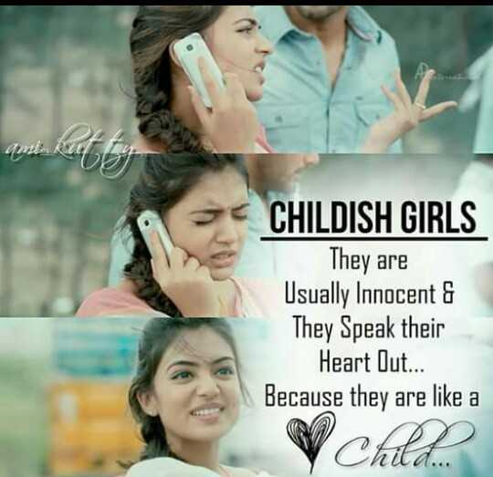 🤣காமெடி ஸ்டேட்டஸ் - ami . Ruutu CHILDISH GIRLS They are Usually Innocent & They Speak their Heart Out . . . Because they are like a VCARD - ShareChat