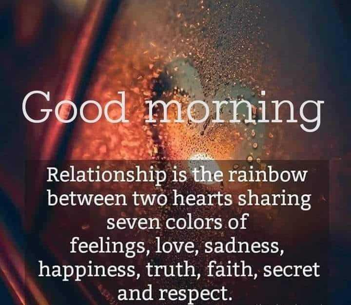 🌞காலை வணக்கம் - Good morning Relationship is the rainbow between two hearts sharing seven colors of feelings , love , sadness , happiness , truth , faith , secret and respect . - ShareChat