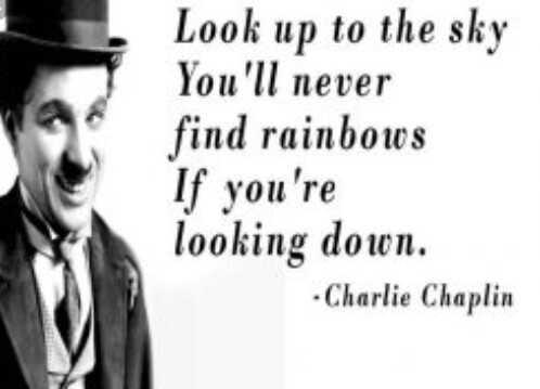 சார்லி சாப்லின் பிறந்த தினம் - Look up to the sky You ' ll never find rainbows If you ' re looking down . Charlie Chaplin - ShareChat