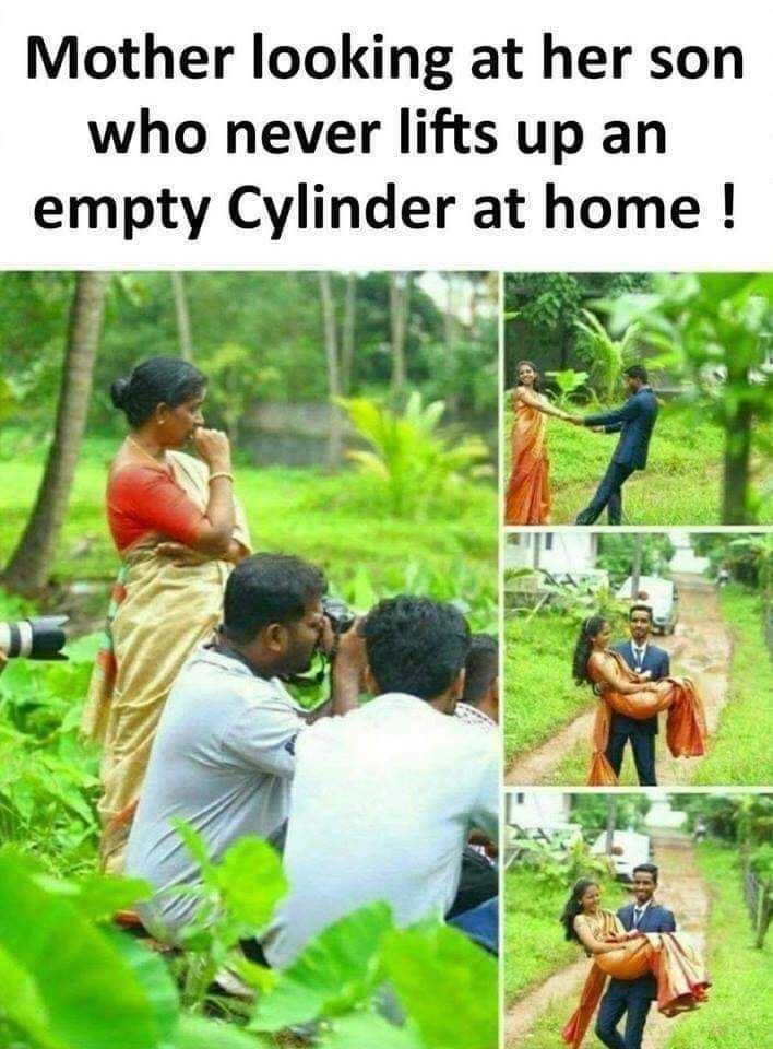 நகைச்சுவை - Mother looking at her son who never lifts up an empty Cylinder at home ! - ShareChat