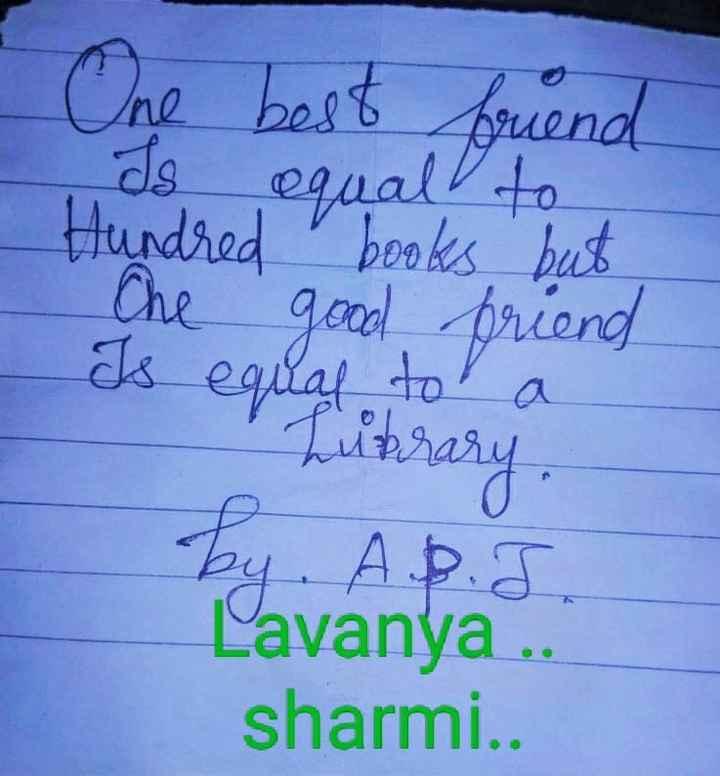 நண்பர்கள்..💕 - One best buend Is equal to Hundred books but Che good friend Is equal to a Library . by . A . P . J . Lavanya . . sharmi . . - ShareChat